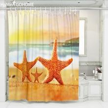 цена на Funny Standing Starfish Landscape Shower Curtain Waterproof Polyester Fabric Bath Curtain for Bathroom Home Decoration Yellow