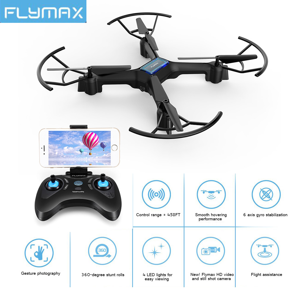 Flymax RC Quadcopter Drone 2.4G WIFI FPV Streaming Drones Toys Wide Angle HD Camera High Hold Mode Helicopters with LED light