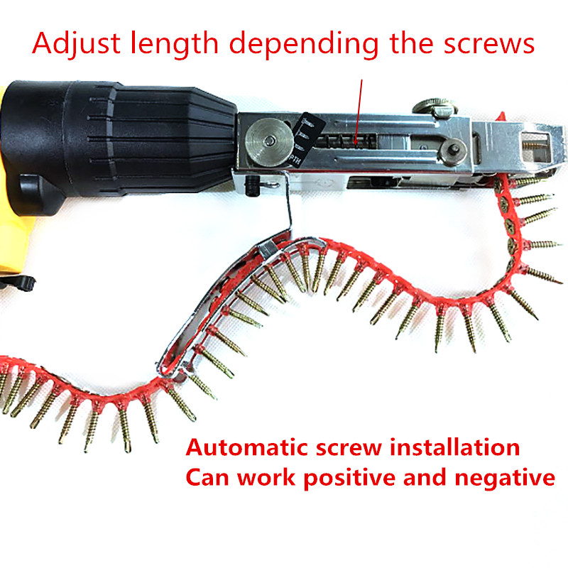 Image 3 - 1PC Automatic New Automatic Chain Nail Gun Adapter Screw Gun for Electric Drill Woodworking Tool Cordless Power Drill Attachment-in Nail Guns from Tools on