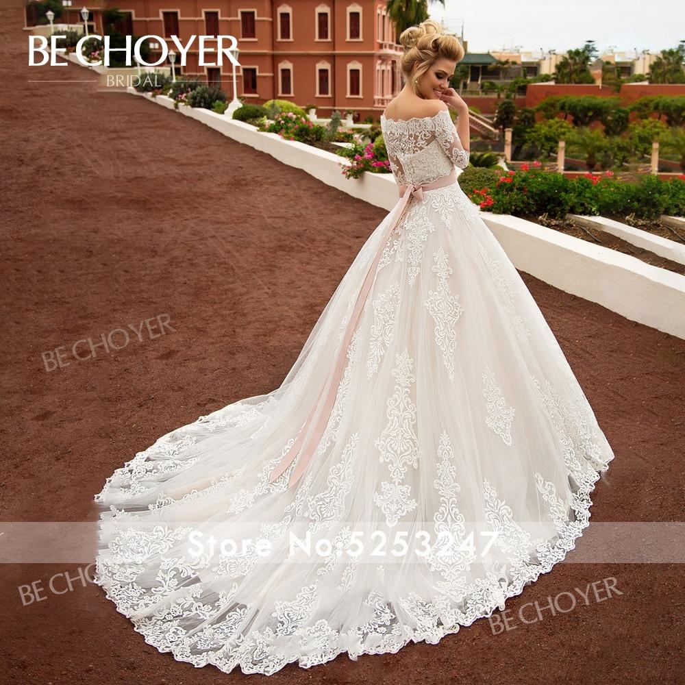 Image 2 - Fashion Detachable 2 In 1 Wedding Dress BECHOYER N239 Appliques Lace A Line Princess Crystal Belt Bride Gown Vestido de NoivaWedding Dresses   -
