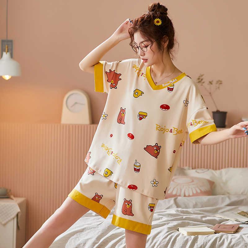 Bzel novos conjuntos de pijamas para as mulheres conjunto de duas peças pijamas amarelo adorável pijama senhoras dos desenhos animados para casa roupas de noite de algodão curto xxl