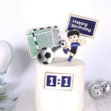 Happy Birthday Cake Topper Funny Soccer Player Cake Top Flag Decoration for Boy Birthday Party Wedding Supplies(China)