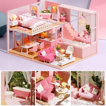 DIY Dollhouse Three-dimensional Assembly Attic Miniature Wooden Doll House With Music Movement Handicraft For Holiday Birthday