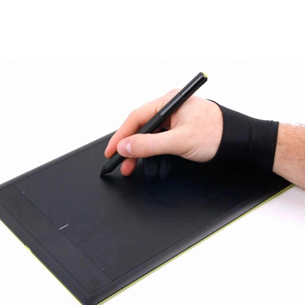 Black Artist Drawing Glove For Any Graphics Drawing Tablet 2 Finger Anti-fouling,both For Right And Left Hand Size L