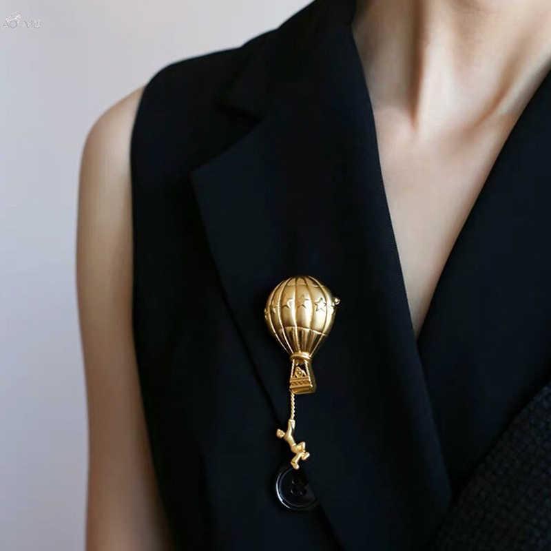 AOMU 2019 del Metallo di Modo Palloncino a Forma di Spilla Vintage di Colore Dell'oro Spille Spilli Per Le Donne Del Partito di Ballo Accessori