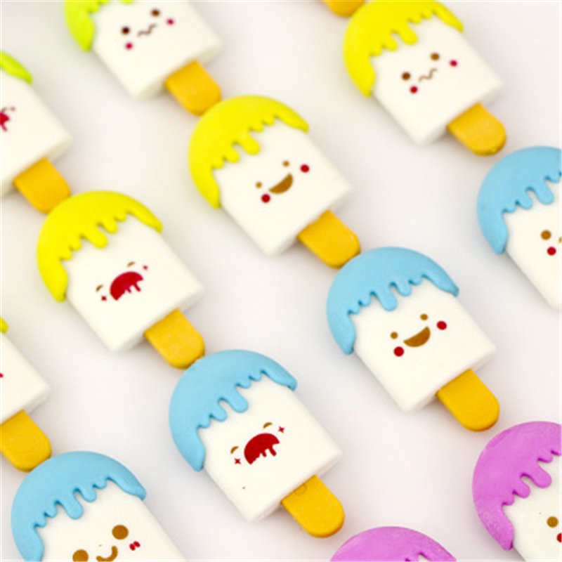 1 Cartoon Cute Ice Cream Eraser Rubber Student Stationery School Supplies Kids Gifts
