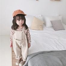 2020 wiosna koreański styl dziewczynek sztruks luźny kombinezon słodkie dzieci dorywczo wszystkie mecze spodnie na szelkach spodnie na szelkach