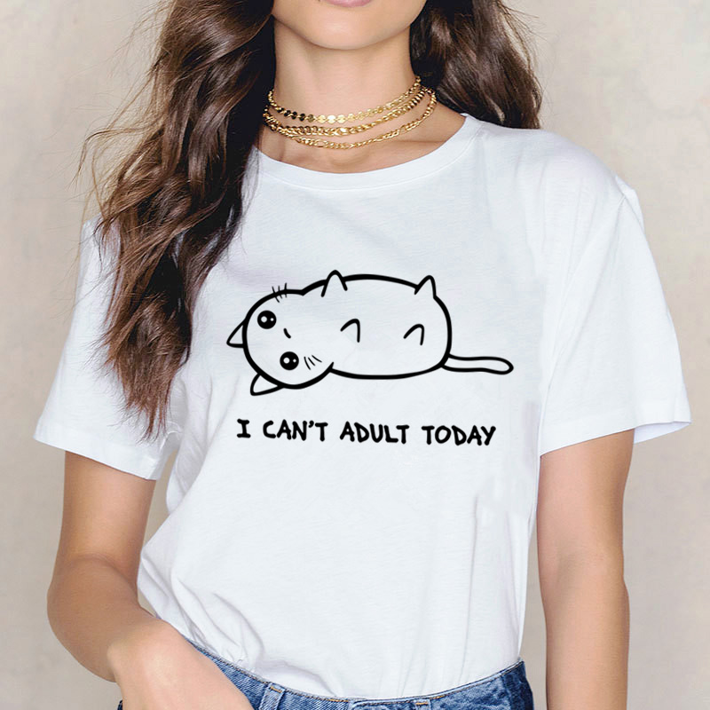 Cat   T     Shirt   Women Female Top Fun   T  -  Shirt   Funny Korean Femme Clothes Harajuku Fashion Cartoon Tshirt