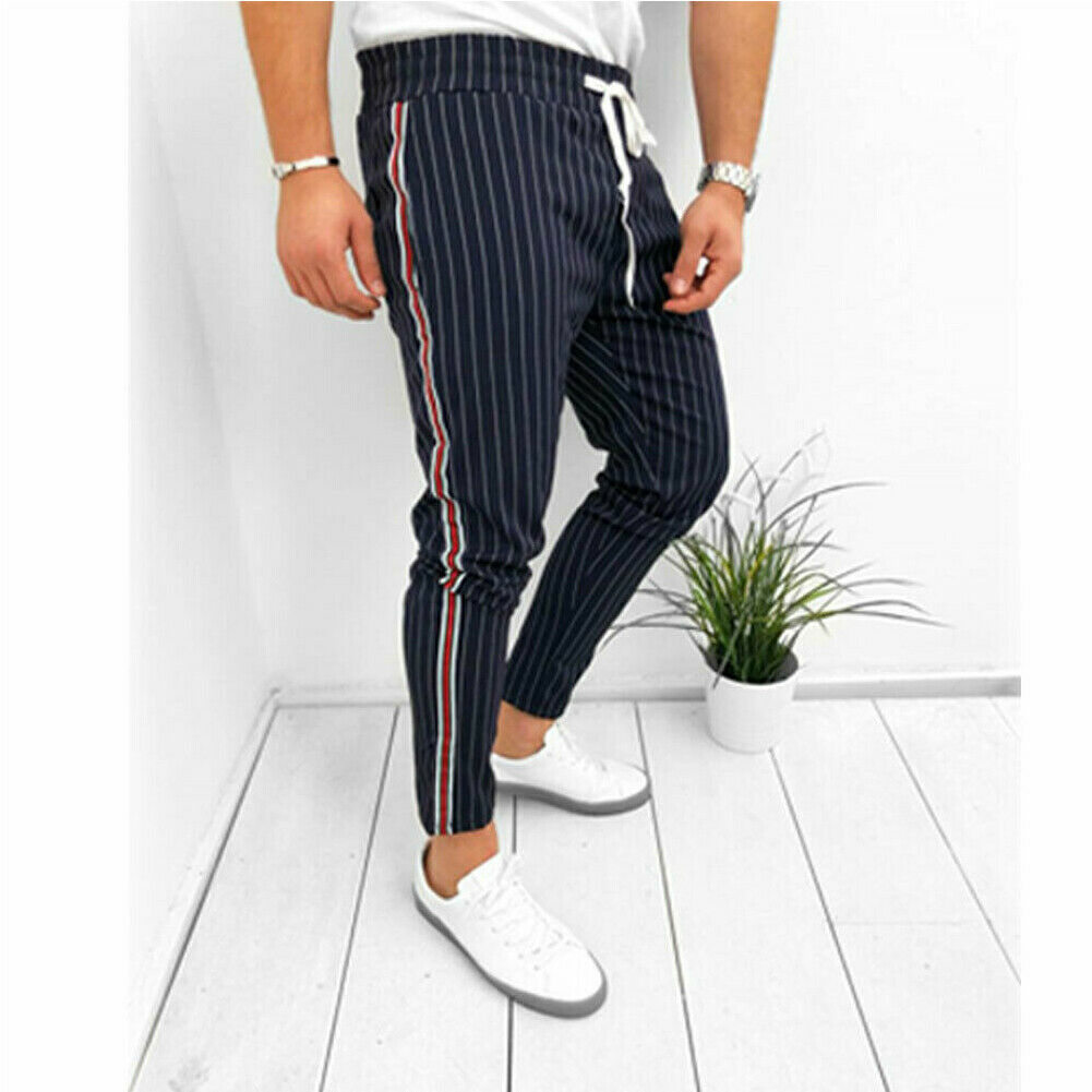 Fashion Men's Casual Pants Ankle-Length Elastic Strap Striped Jogger Sports Fitness Sweatpants Long Pants