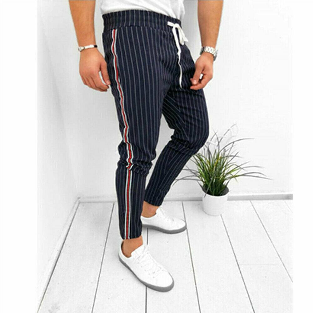 Fashion Men's Casual Pants Ankle-Length Elastic Strap Striped Jogger Sports Fitness Sweatpants Long Pants