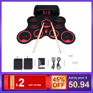Ammoon Roll-Up MIDI Drum Electric Drum Set 9 Silicon Durm Pads Built-in Stereo Speakers with Foot Pedals Recharge for Beginner(China)