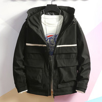 Men's Autumn Casual Fashion Patchwork Jacket Multiple Pockets Outwear Coat Pilot Jacket Air Force Autumn Casual Cargo 7.30