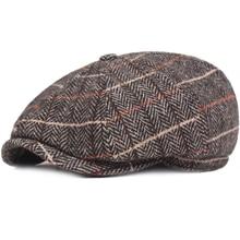 HT2698 Beret Cap Autumn Winter Hat Vintage Plaid Octagonal Newsboy Artist Painter Men Women Flat Berets