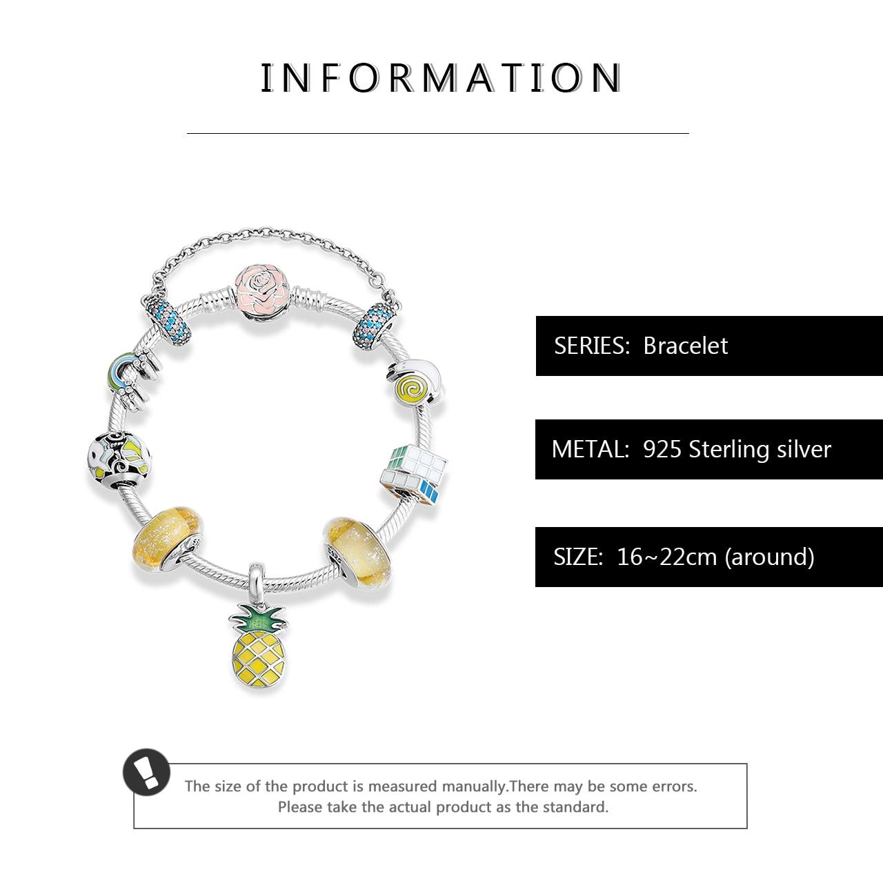 Argent Sterling 925 coloré émail licorne arc en ciel bracelet à breloques cristal verre perles Bracelets et bracelet pour femmes bijoux cadeau - 3