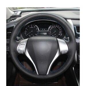 Image 2 - Hand stitched Black PU Artificial Leather Car Steering Wheel Cover for Nissan Teana Altima X Trail Qashqai Tiida Pulsar Navara