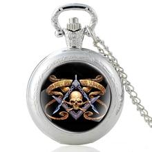 New Arrivals Vintage  Skeleton Masonic Symbol Glass Dome Quartz Pocket Watch Classic Men Women Silver Necklace Pendant Gifts