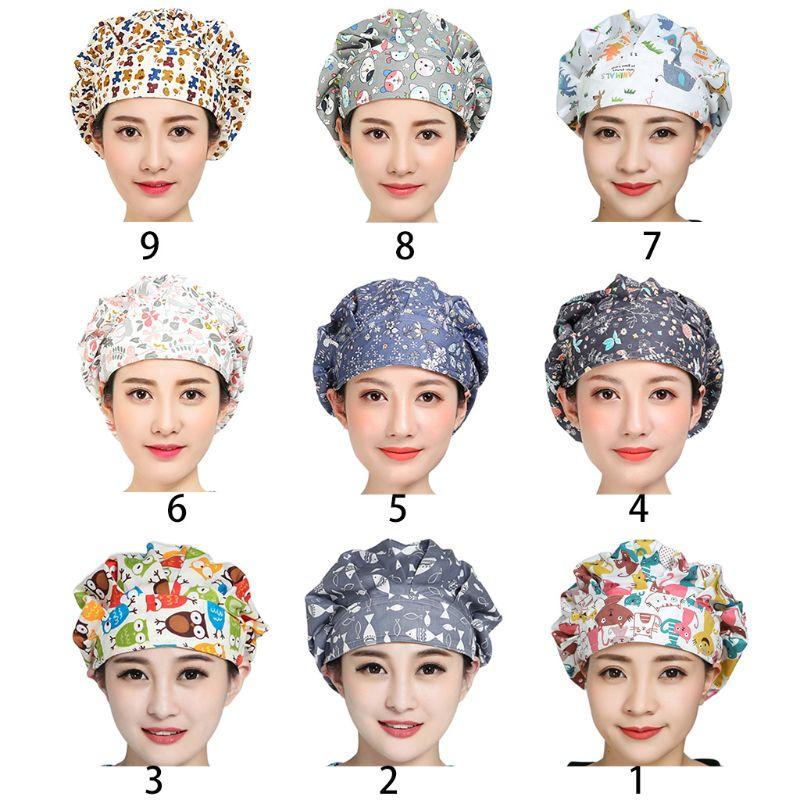 Women Men Floral Print Adjustable Surgical Scrub Cap Hospital Doctor Nurses Kitchen Cotton Bouffant Hat With Sweatband