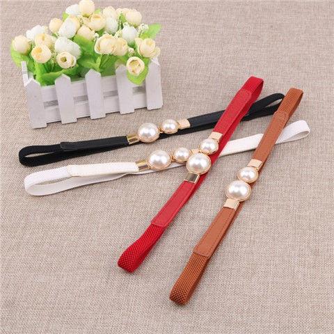 French new belt women's decorative dress elastic  waist seal pearl fashion pants belt women belts luxury brand  fashion belt