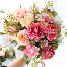 Artificial Flowers Red Silk Peony Roses Vases for Home Decor Bride Bouquet Wedding Accessories Craft DIY Gifts Pink Fake Plants