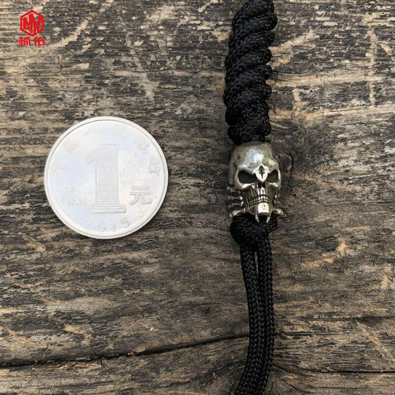 925 argent Original fait à la main eextraterrestre en forme de crâne araignée couteau perles EDC parapluie corde couteau perles pendentif - 5
