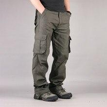 Thoshine marca masculina casual calças de carga em linha reta 90% algodão muitos bolsos ao ar livre safari estilo solto oversize plus size