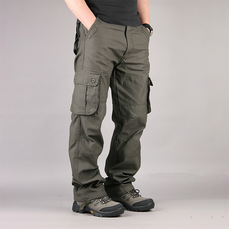 Thoshine Brand Men Casual Cargo Pants Straight 90% Cotton Many Pockets Outdoor Safari Style Trousers Loose Oversize Plus Size