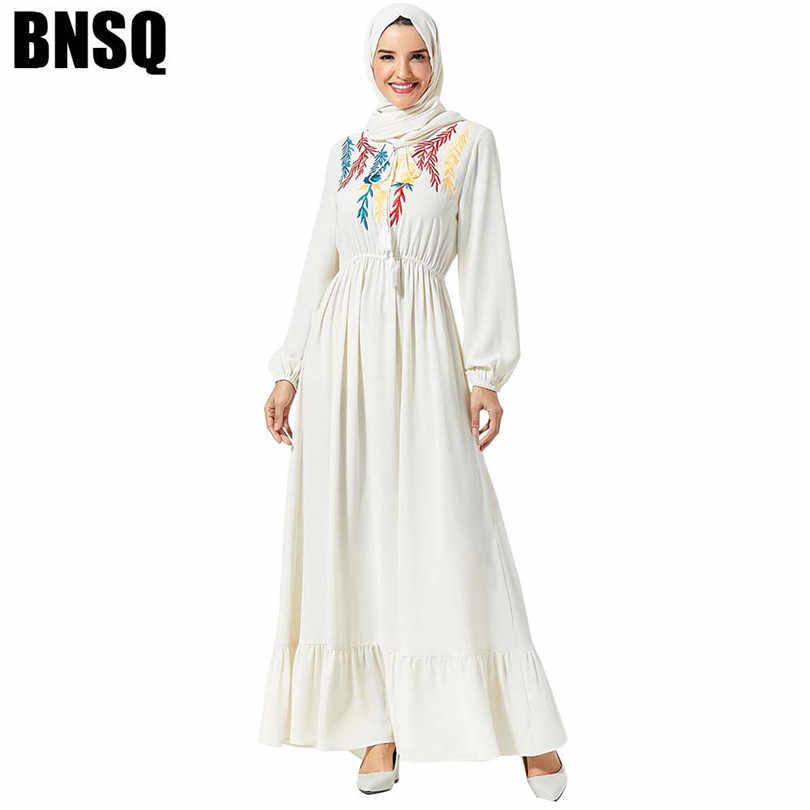 Bianco Abaya Dubai Turchia Hijab Abito Musulmano Abbigliamento Islamico Donne Caftano Caftano Robe Musulmane Islam Ricamo A Manica Lunga