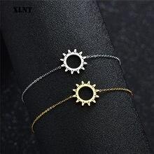Xlnt simples pulseiras redondas para mulheres charme de ouro com sol padrão de flor geométrica pulseiras de aço inoxidável jóias