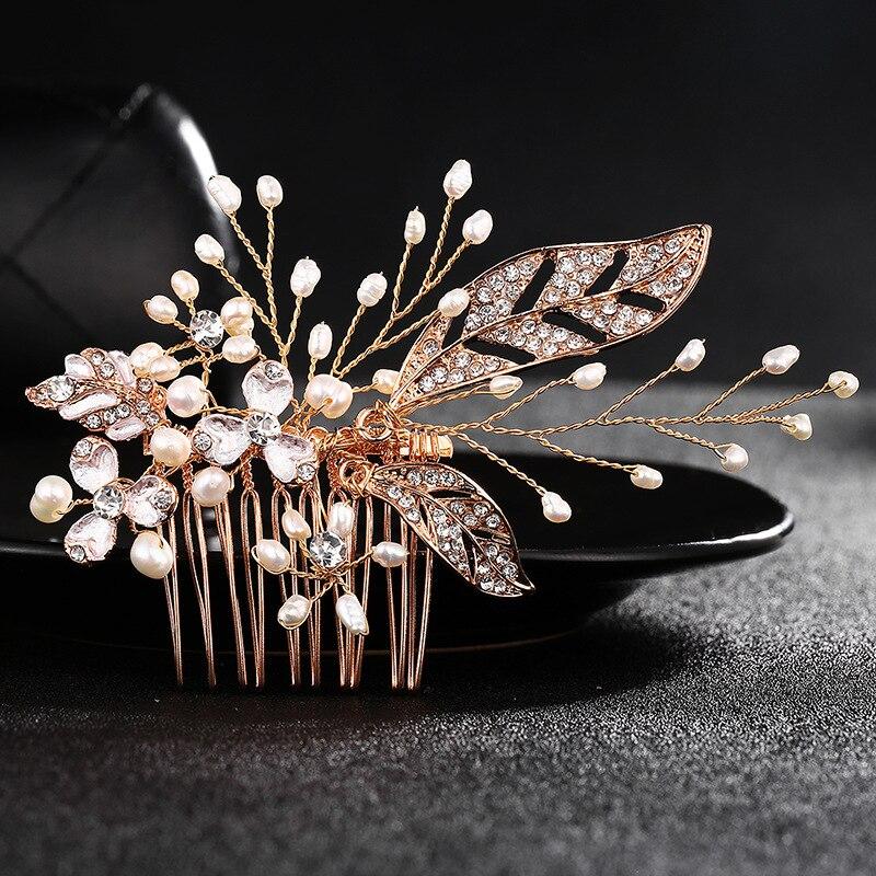 Wedding Hair Comb Leaf Crystal Peals Tiara Rhinestone Bridal Headdress Accessories Head Jewelry Headwear FS157