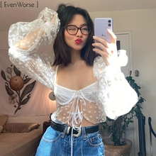 Bomblook Long Bubble Sleeves Flocking Daisy Pattern Tube Top Sexy See-through Exposed Navel Tops 2020 Summer Women Crop Tops