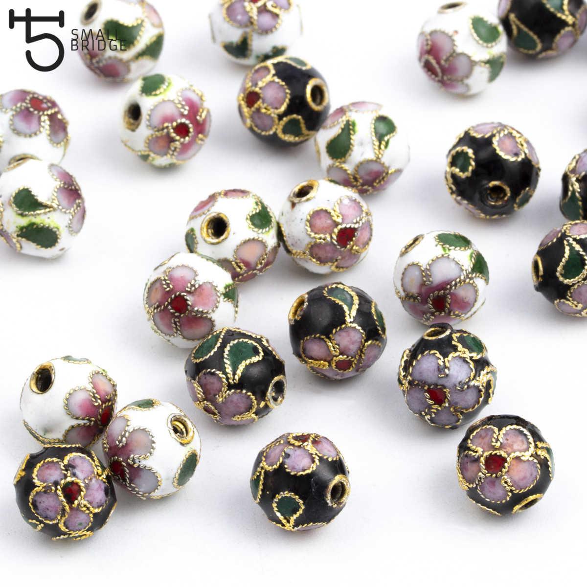 8/10/12mm cobre cuentas de esmalte encantos para fabricación de joyería DIY accesorios para mujer Cloisonne espaciador perlas al por mayor M502
