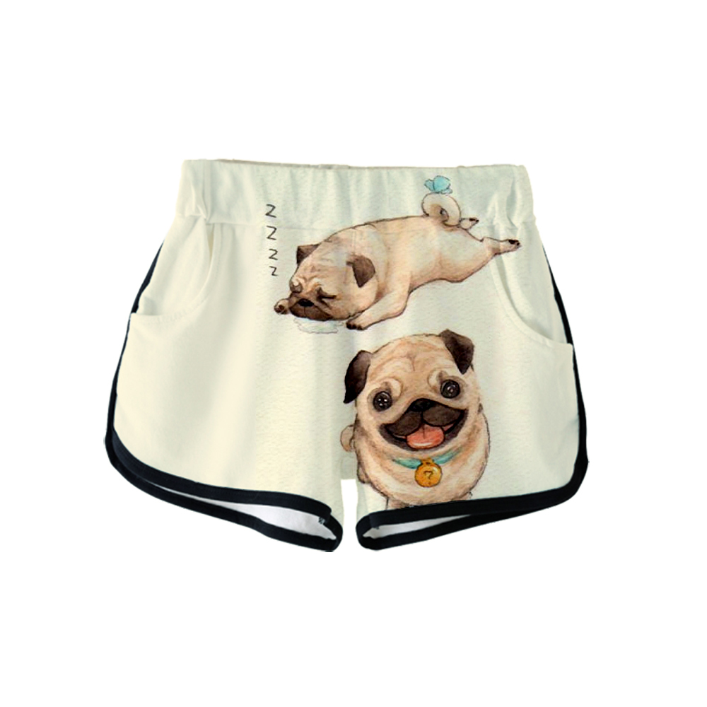 Newest Cute Pug Dog 2019 3D Pop Face Print Women Summer Casual Sexy POP Shorts Casual Ladies Summer Hot Sale Shorts Plus Size