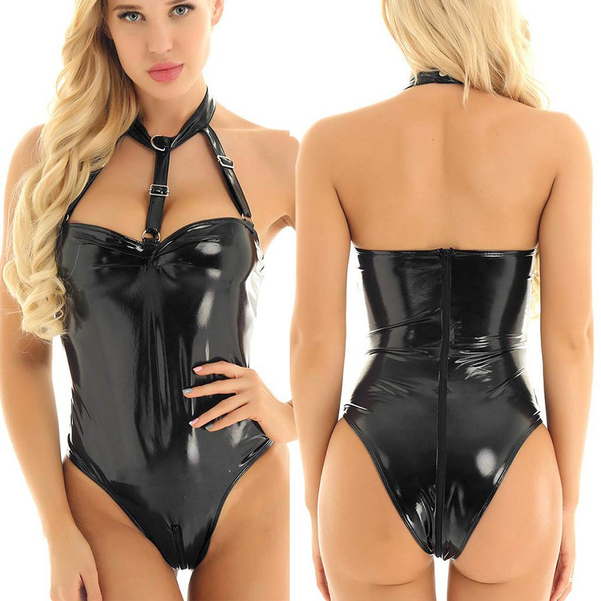 Women PU Leather Bodysuits Sexy Party Black Halter Backless Skinny Sleeveless Spring Highstreet Sexy Jumpsuit Rompers Mujer 2020
