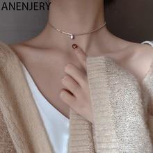 ANENJERY-collares de cuentas de plata de ley 925 para mujer, gargantilla de cadena corta, S-N554