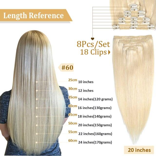 MRSHAIR Clip In Human Hair Extensions Straight 8pc Set Machine Remy Clip Ins Full Hair Brazilian Hair Blonde Clip 14 16 18 20 22 4