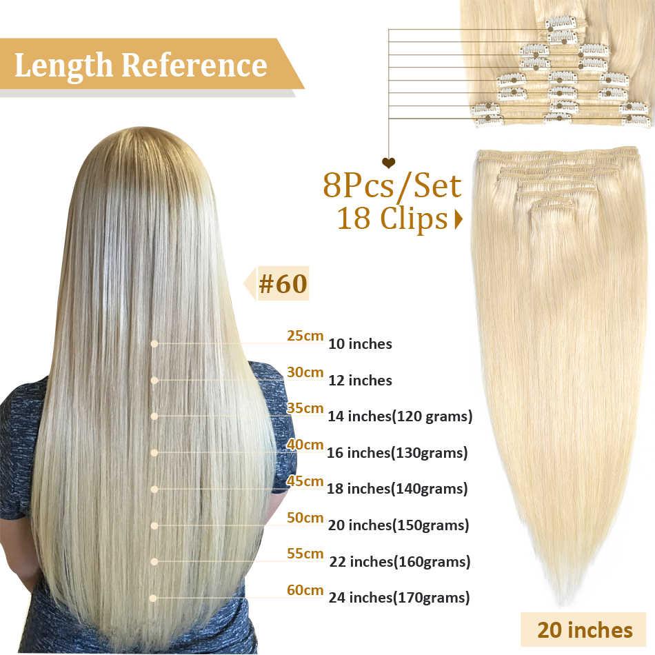 MRSHAIR Clip In Menschliches Haar Extensions Gerade 8pc Set Maschine Remy Clip Ins Volles Haar Brasilianische Haar Blonde Clip 14 16 18 20 22
