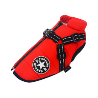Red-Large Pet Dog Jacket With Harness Winter Warm Dog Clothes