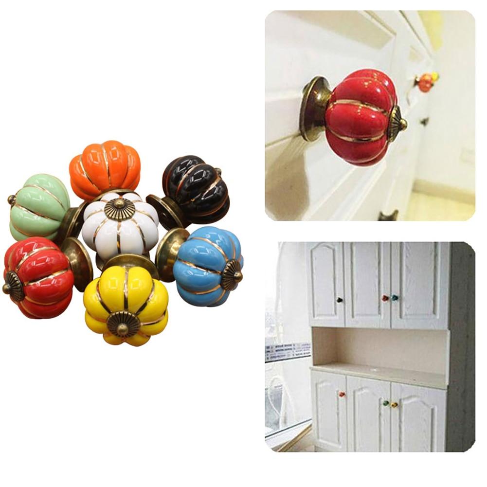1 Pc Ceramic Pumpkin Handle Ceramic Handle Seven Colorful Pumpkin Cartoon Pastoral Modern Minimalist Cabinet Drawer Handle