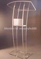 Meble ambona darmowa wysyłka wysokiej jakości solidność nowoczesny Design tanie przezroczysty akrylowy pulpit akrylowy podium pleksi w Biurka do recepcji od Meble na