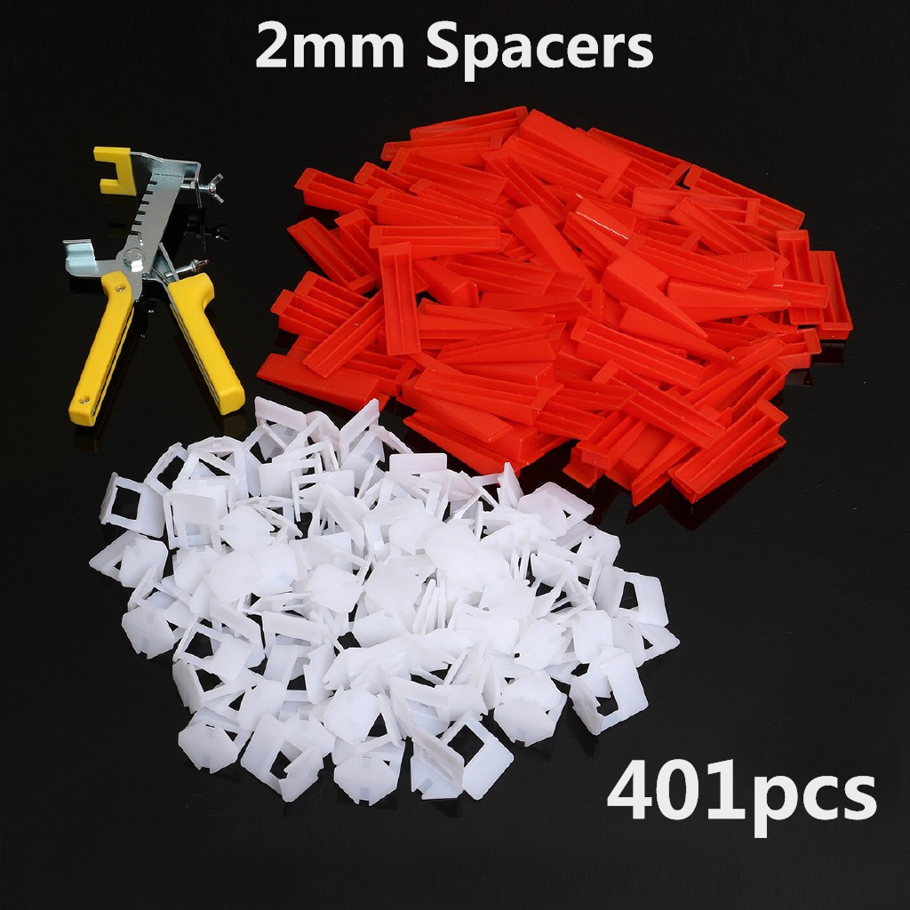 401pcs 2mm Spacer Tile Leveling System Spacer Tiling Flooring Tools 300 Pieces Clips + 100 Pcs Wedges + Pliers