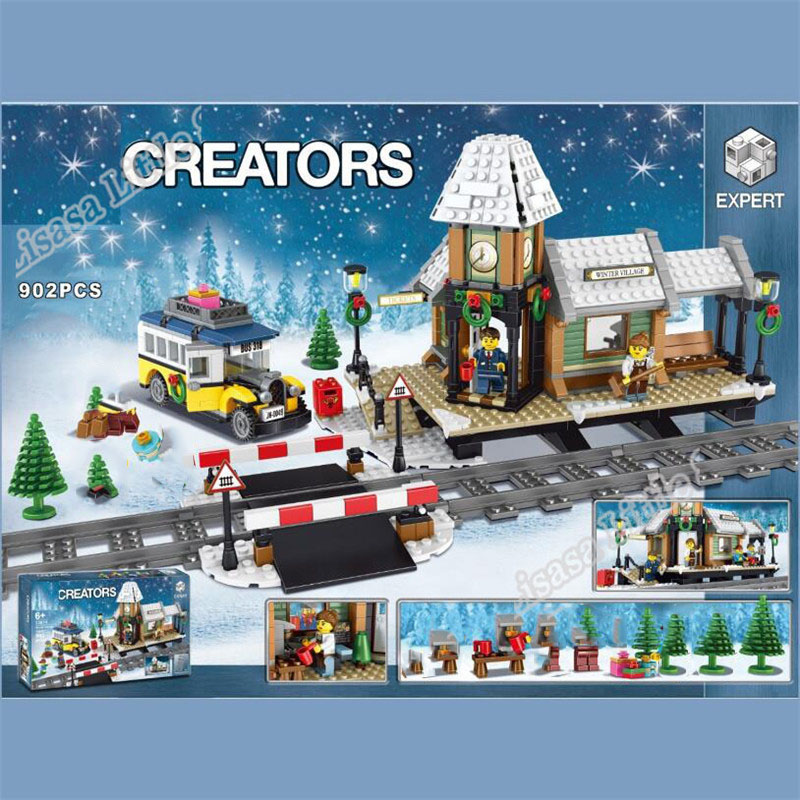 New Creator Winter Christmas Train Village Station 7 Figures Building Blocks Bricks Girl Friend Legoinglys Toys For Children