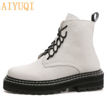 AIYUQI Martin Boots Female 2019 New Autumn British Wind Genuine Leather Thick With Short Boots Women's Boots Motorcycle Boots(China)