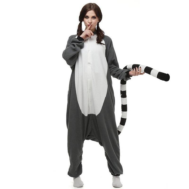 Polar Fleece Kigurumi Lemur Catta Onesie Adult Women Man Funny Jumpsuit Onepiece Overall Cosplay Costume