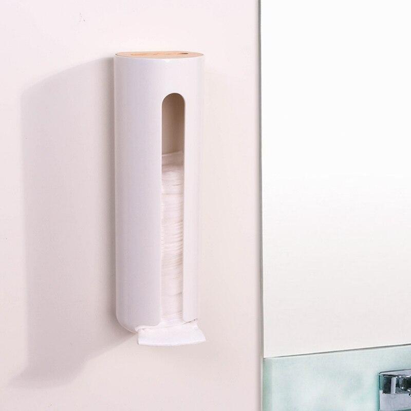 Caixa de armazenamento de algodão cosmético com tampa de madeira wall mount ferramenta de armazenamento de cosméticos domésticos - 4