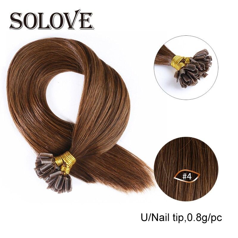 Human-Hair-Extensions Fusion-Hair Keratin Machine-Made U-Tip Straight Nail Remy