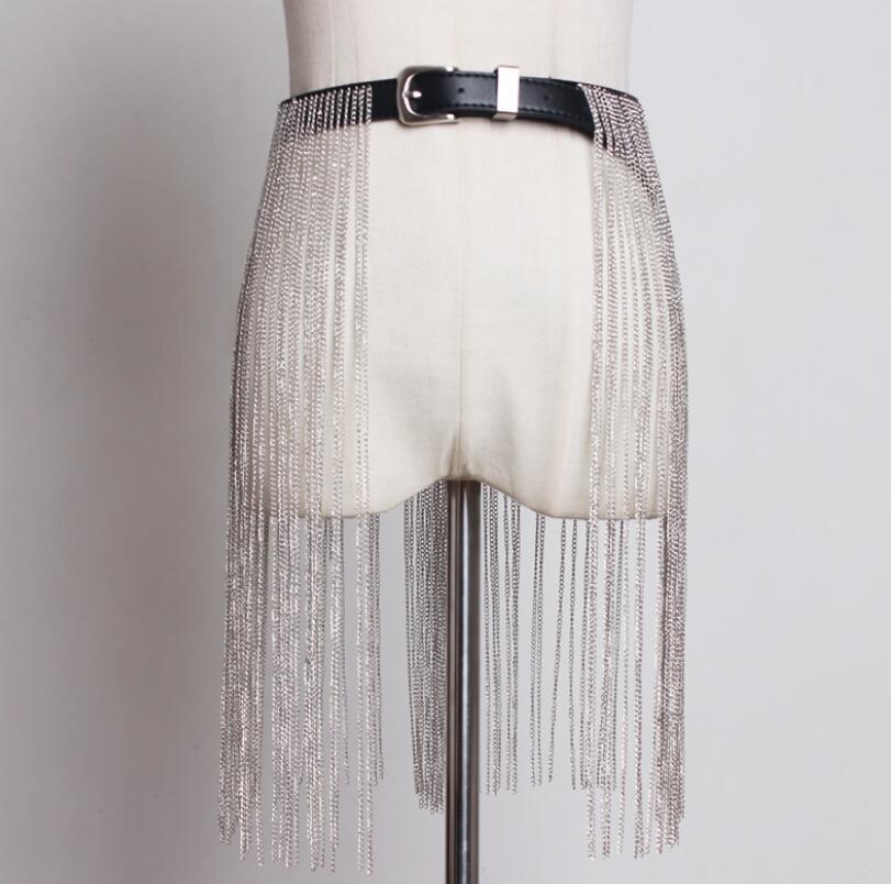 Women's Runway Fashion Chain Tassel Pu Leather Cummerbunds Female Dress Coat Corsets Waistband Belts Decoration Wide Belt R1759