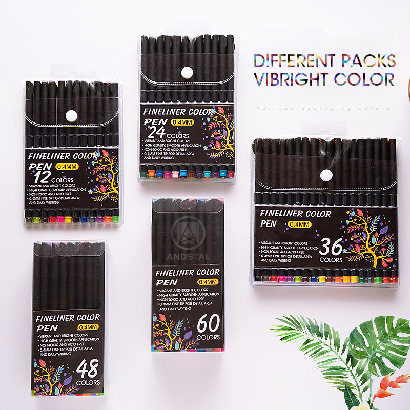 Andstal 60 Colors Fineliner Color Pen 0.4mm Fine Line Pens Colored Ink Drawing Pen Set Marker Liner for School