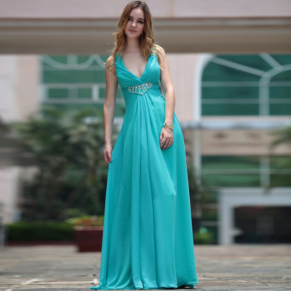 Free Shipping 2013 Fashion Quality Banquet Spaghetti Strap Formal Prom Dress Water Blue Sexy Crystal Beading Bridesmaid Dresses