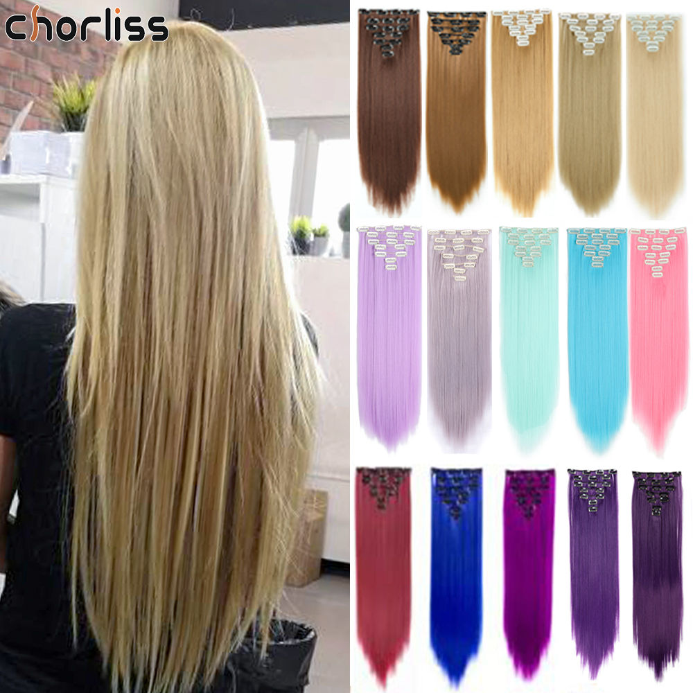 Chorliss 22inch 7pcs/set Blonde Synthetic Hair Piece Natural Straight  Hair Clips In Synthetic Clip In Hair Extensions