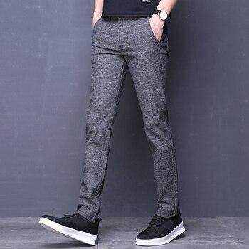 Fashion Mens Dress Pants Formal Pants Slim Suit Plaid Pants Business Casual Plus Size Wedding Pant Suits Men Trousers
